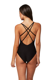Horizon Texture Cross Strap Plunge Maillot - One Piece - Monte & Lou