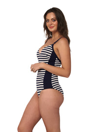 Hamilton Stripe DD/E Panelled V Neck Maillot - One Piece - Monte & Lou