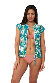 Hot Tropics Short Sleeve Rash Vest - Bikini Tops - Monte & Lou