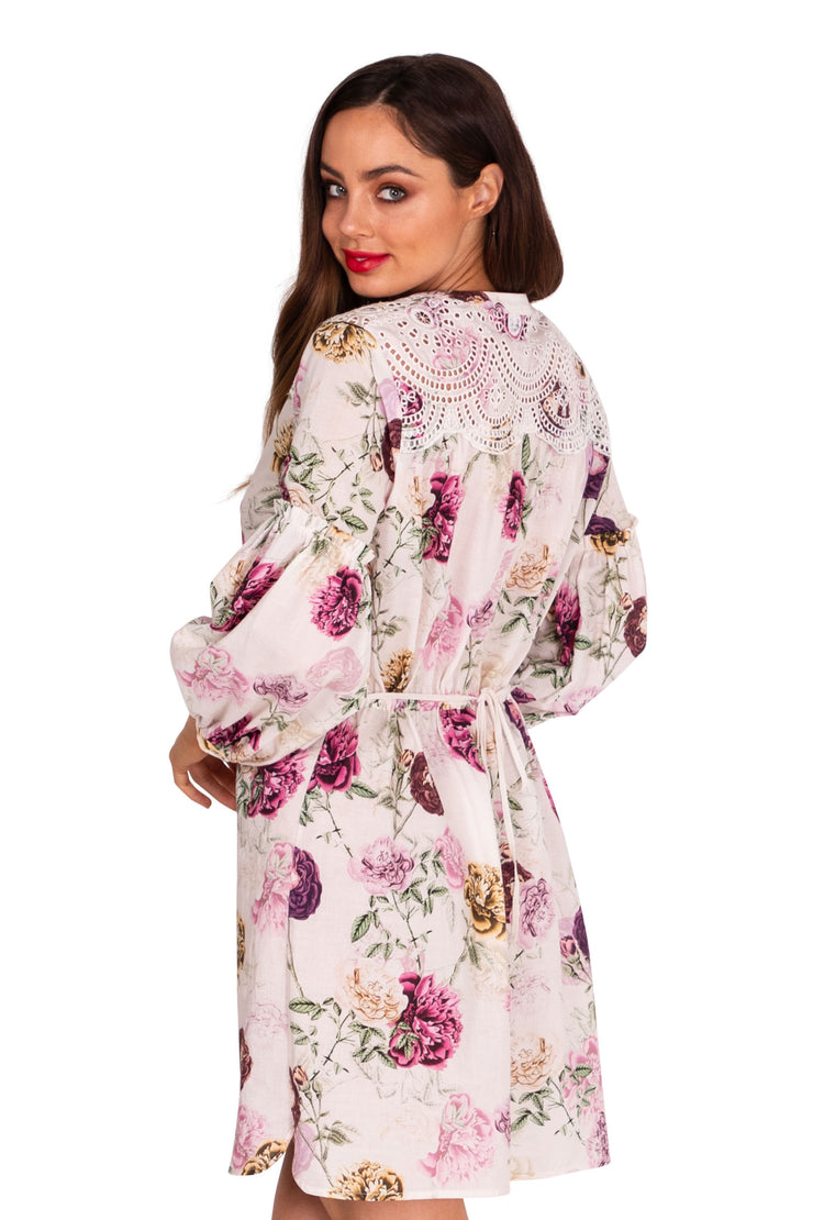 Cabbage Rose Broderie Shirtdress - Clothing - Monte & Lou