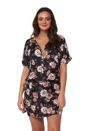 Vintage Floral Short Sleeve Shirt Dress - Clothing - Monte & Lou