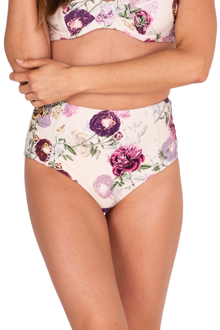 Cabbage Rose High Waisted Pant - Bikini Bottoms - Monte & Lou