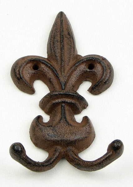 Cast Iron Fleur De Lis Wall Hook Set of 2