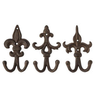 SET OF 3 - Cast Iron Fleur De Lis Double Wall Hooks / Hangers