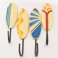 Set of 4 Wooden Surfboard Wall Hooks