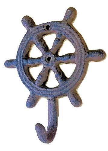 2 Pc Ships Wheel Wall Hooks 4  Cast Iron Rustic