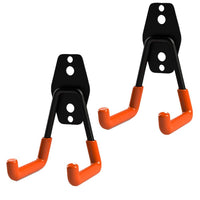 2 PCS Utility Hooks Wall Mount Tool Holder U-Hooks for Home Garage Storage Organizer Garden Tools (Orange, Type-2)