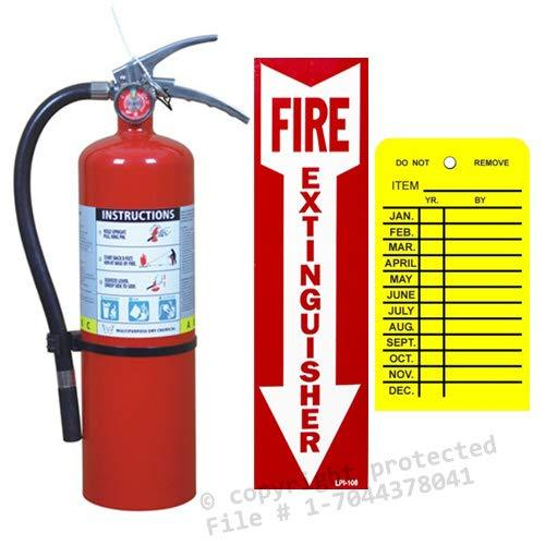 (Lot Of 1) 5 Lb. Type Abc Dry Chemical Fire Extinguisher With Wall Hook, Sign And Inspection Tag