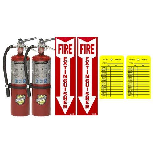 (Lot Of 2) Buckeye 5 Lb. Type Abc Dry Chemical Fire Extinguishers With Wall Hooks