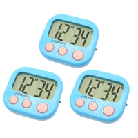 3 Pack Digital Kitchen Timer Magnetic Back Big LCD Display Loud Alarm Minute Second Count Up Countdown With ON/OFF Switch For Kitchen, Homework, Exercise, Game(3 Blue)