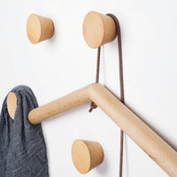 2Pcs Natural Wooden Coat Hooks, Wall Mounted Single Cone Wall Hook Rack, Decorative Craft Clothes Hooks (Small Beech Wood)