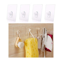 24 Pc Clear Reusable Wall Hooks Transparent Hangers Decorate Removable Home