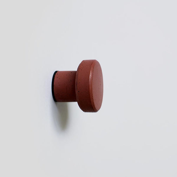 Circular Concrete Wall Hook - Red