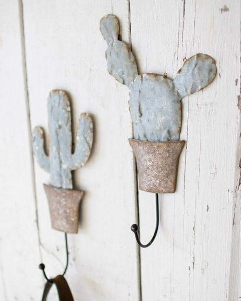 Metal Potted Cactus Wall Hooks Set/2