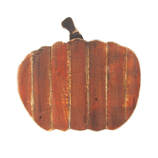 Distressed Wooden Pumpkin Halloween Decor, Orange, 14-1/2-Inch