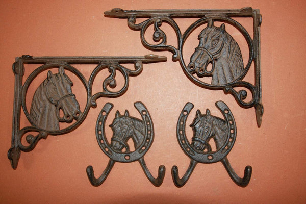 "4) pcs, Western Americana Horse Shelf Brackets Wall Hook Collection, 9"" Shelf Bracket, Equestrian, Country Western, Free Shipping"