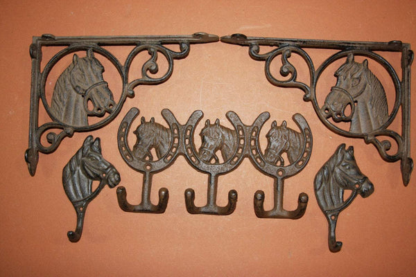 5) Country Western Horse Decor Gift Set, Western shelf brackets & wall hooks, rodeo, cowboy, cowgirl, cast iron, free shipping
