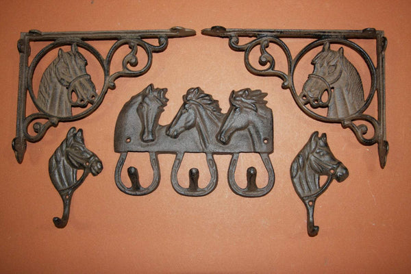 5) Farmhouse horse wall decor, horse shelf brackets set, farm & ranch horse decor,horse wall hooks, cast iron, free shipping
