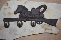 4)pcs, Vintage-look cast iron Western American wall decor, coat hook, hat hook, 12 1/2 inch horse decor, free shipping, W-12