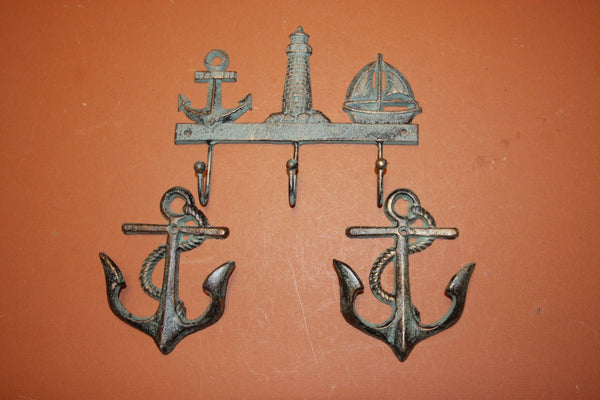 3) Seaview Coat and Hat Hook Set of 3, Bronze-look Anchor Lighthouse sailboat decor, sailing wall hooks, cast iron, free shipping~