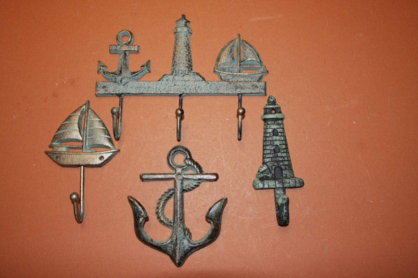 4) Sailor Christmas Gift, fast and free shipping, bronze-look sailboat decor, sailboat wall hook set, cast iron, anchor,lighthouse~