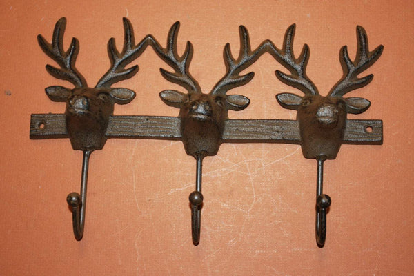 3) Deer hunter coat and hat hooks, deer hunter cabin decor, cast iron deer wall hook, free shipping, deer hunter gift, W-61
