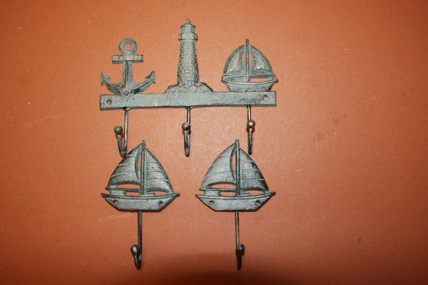 3) Nautical Coat and Hat hooks of 3, bronze-look cast iron sailboat decor, antique-look sailing decor,sailboat decor,free shipping~