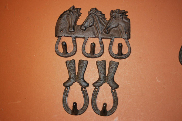 3) Equestrian Wall Decor, Free Shipping, Cowboy Cowgirl Rustic Wall Decor, Horse Horseshoe, Coat Hat Hook Set, Tack Hooks,Cast Iron