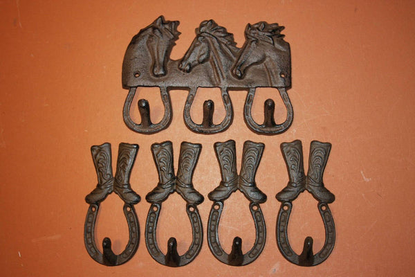 5) Equestrian Wall Decor, Free Shipping, Cowboy Cowgirl Rustic Wall Decor, Horse Horseshoe, Coat Hat Hook Set, Tack Hooks,Cast Iron