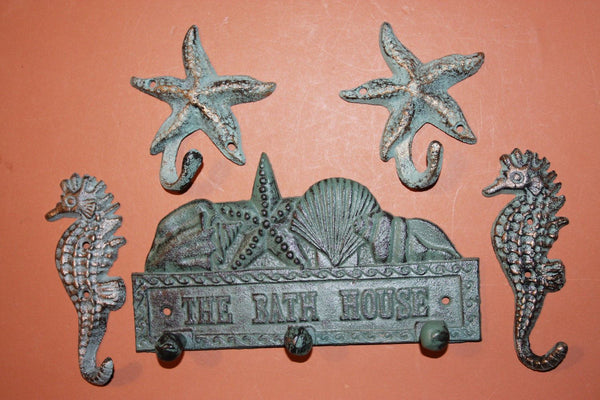 5) Beach Bath House Towel Hook Set, Beach Five Collection, Bath house Beach Decor, Seahorse, Starfish, Bathroom Hooks,Free Ship~