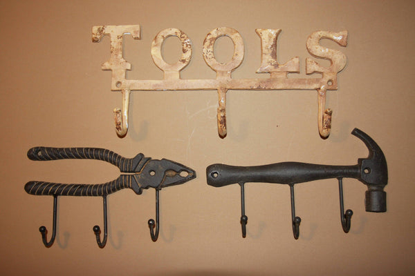 3) Gift for dad Vintage-look Tools Cast Iron Wall Hook Set Rusty Tools Hammer Pliers Set of 3 pieces