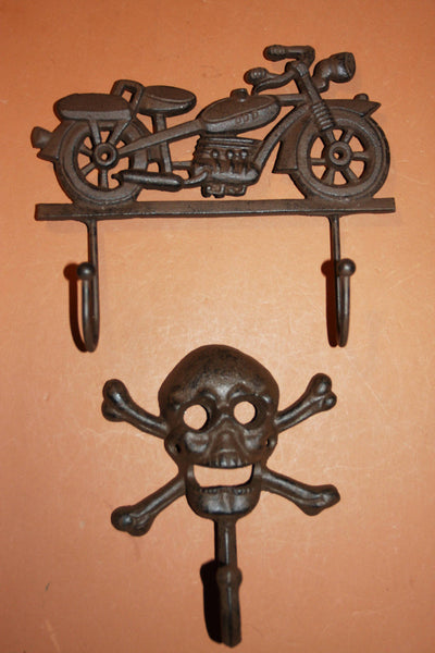2) Biker Garage Decor, Free Shipping, Vintage Motorcycle Wall hook, Skull Crossbones Wall hook, Solid Cast Iron, Heavy, H-41,H-66