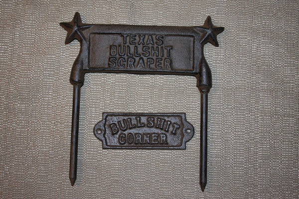 4) Husband Gift Set Rustic Tools Bullshit Man Cave Coat Hat Hook, Bullshit Corner Plaque, Texas Bullshit Boot Scraper
