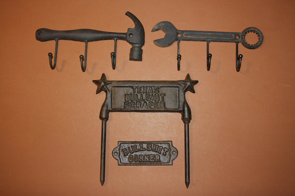 4) Husband Gift Set Rustic Tools Workshop Wall Hooks, Texas Man Cave Workshop, Bullshit Corner, Coat Hat Hook, BS Sign