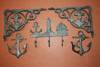 5) pcs, Mariner Wall Decor, Anchor Sailboat Lighthouse Design, Shelf Brackets, Coat Hat Hooks, Bronze-look,Cast Iron,Free Shipping~