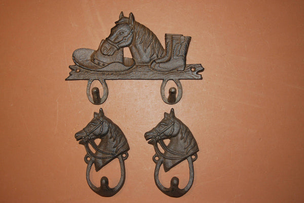 3) Rustic Tack Hooks, Free Shipping, Barn Farm Ranch Wall Decor, Horse / Horseshoe  Wall Mounted Hooks, Heavy Durable Cast Iron