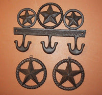 3) Rustic Lone Star Wall Decor Collection, Fast Free Shipping, Lone Star Wall Hook Plaque, Barn Farm Ranch Decor, Cast Iron