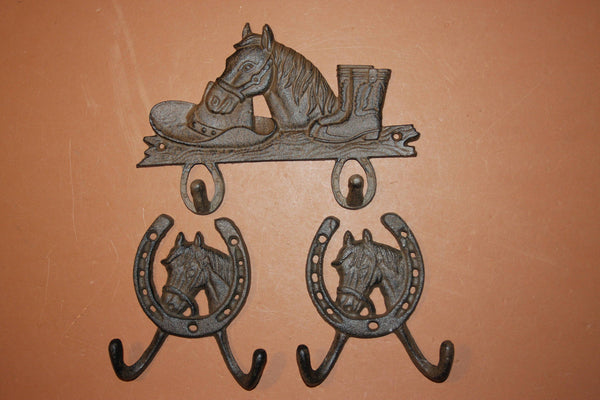 3) Horse Lover Home Decor Husband Gift, Fast Free Shipping, Solid Cast Iron Horse Wall Hook Set, Rustic Cowboy Horse Rider Decor