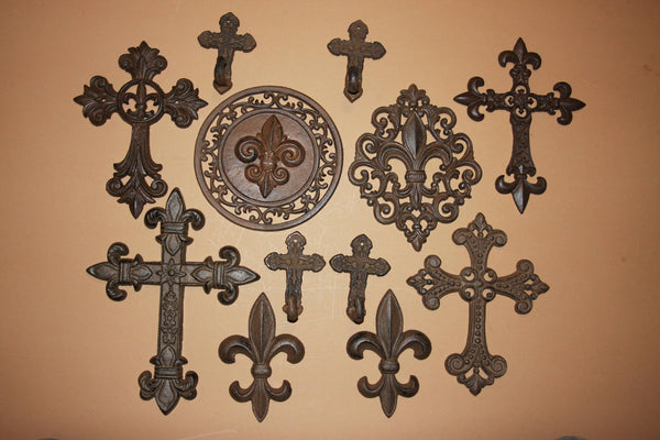 12) Deluxe Vintage Style Fleur De Lis Wall Cross Collection, Cast Iron Old World Iberia 12 pcs~