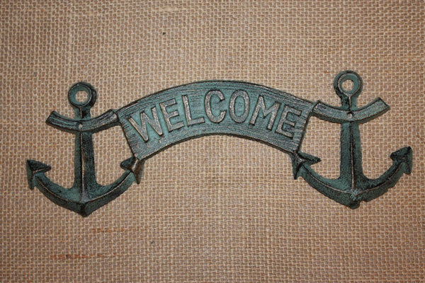 1) Nautical Christmas Gift, Fast Free Shipping, Antique-look Welcome Anchor Plaque, Solid Cast Iron, Bronze-look, Anchor Wall BL-43