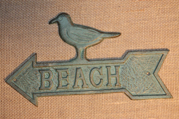1) Beach House House Warming Gift, Fast Free Shipping, Seagull Beach Sign, Beach Sign, Cast Iron, Antique-look, Beach Decor, BL-49