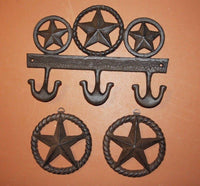 3) Lone Star Wall Decor, Fast Free Shipping, Rustic Cast Iron Lone Star Wall Hook, Wall Plaque, Barn Decor,Texas home decor