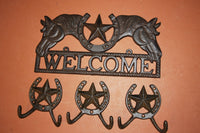 4) Texas Farm Ranch Welcome Plaque Set, Lone Star Coat Hat Hooks, Western Horse Welcome Sign, Cast Iron, Stockton,  Free Shipping