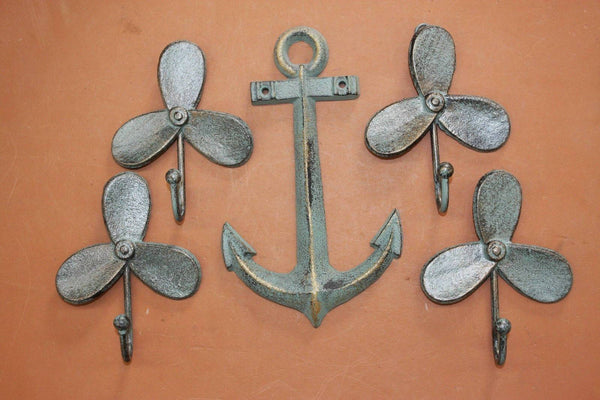 5) Cast Iron Boat Propeller Wall Hooks with Anchor Wall Plaque, Cast Iron, Summer Days, Free Ship