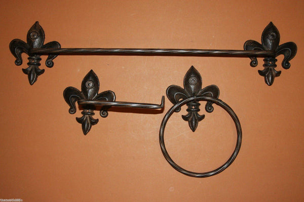 3) Fleur De Lis bath accessory set, free shipping, Towel bar, towel ring, toilet paper holder,vintage-look cast iron, Saints