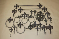 20) Vintage-look Cajun Creole Fleur De Lis Bath Accessories, Towel Rack Bar, TP Holder, Towel RIng, 20 pcs, Free Ship, Marseille