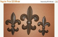 3) Antique-look Fleur De Lis Emblem Wall Plaques Solid Cast Iron, Set of 3 pieces, Cajun Creole Saints Decor,  F-5,6,7