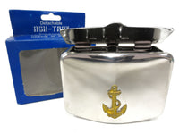Vintage Boat Ship Chrome Wall Ashtray with Gold Anchor, Portable with Wall Hook, Hand Polished, Original Box, Japan, Never Used NOS