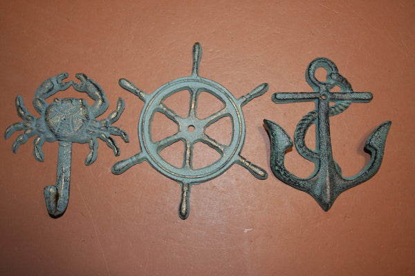 3) Nautical Cast Iron Wall Decor, Ships Wheel Wall Plaque, Crab Anchor Wall Hook Set, Antiqued Look Cast Iron Set