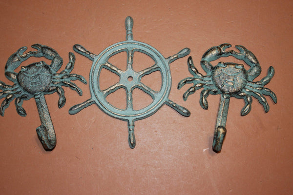 3) Finish Nautical Cast Iron Wall Decor, Ships Wheel Wall Plaque, Crab Wall Hook Set, Antiqued Look Cast Iron Set